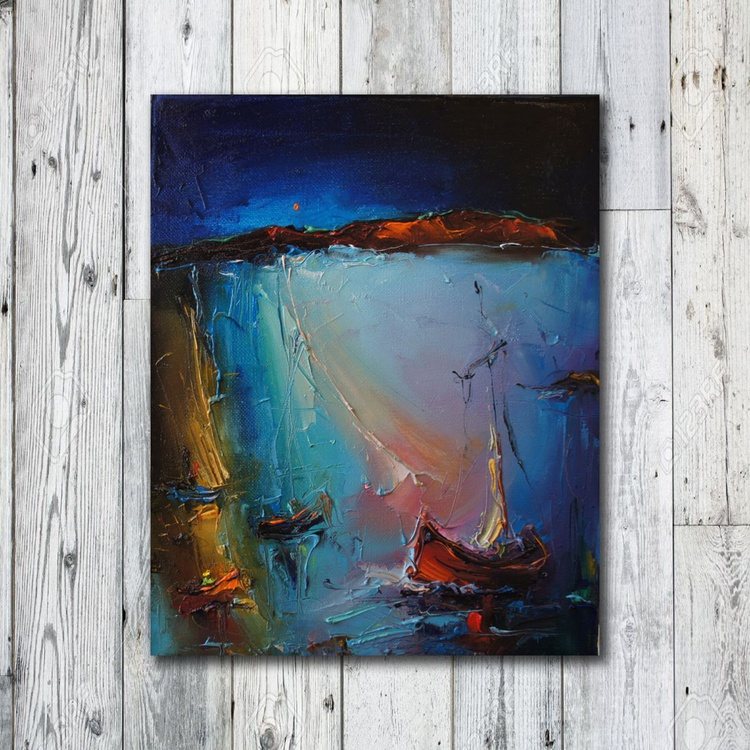 The blue coasts, Oil Painting, Free Shipping - Image 0