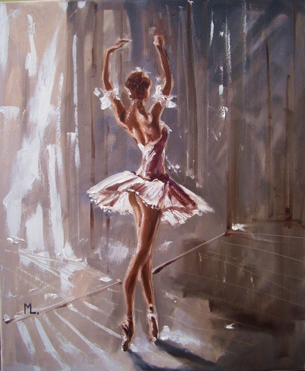 """ ONE MOMENT IN TIME ""- ballerina liGHt  ORIGINAL OIL PAINTING, GIFT, PALETTE KNIFE - Image 0"