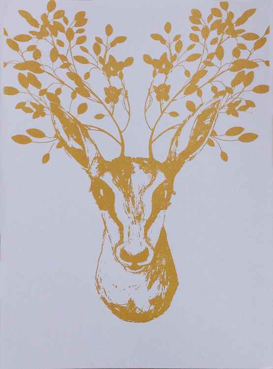 Deer With The Golden Leaves