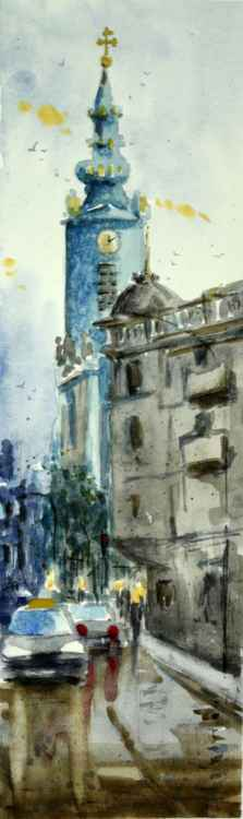 Synod Church in Belgrade Serbia small watercolor painting -