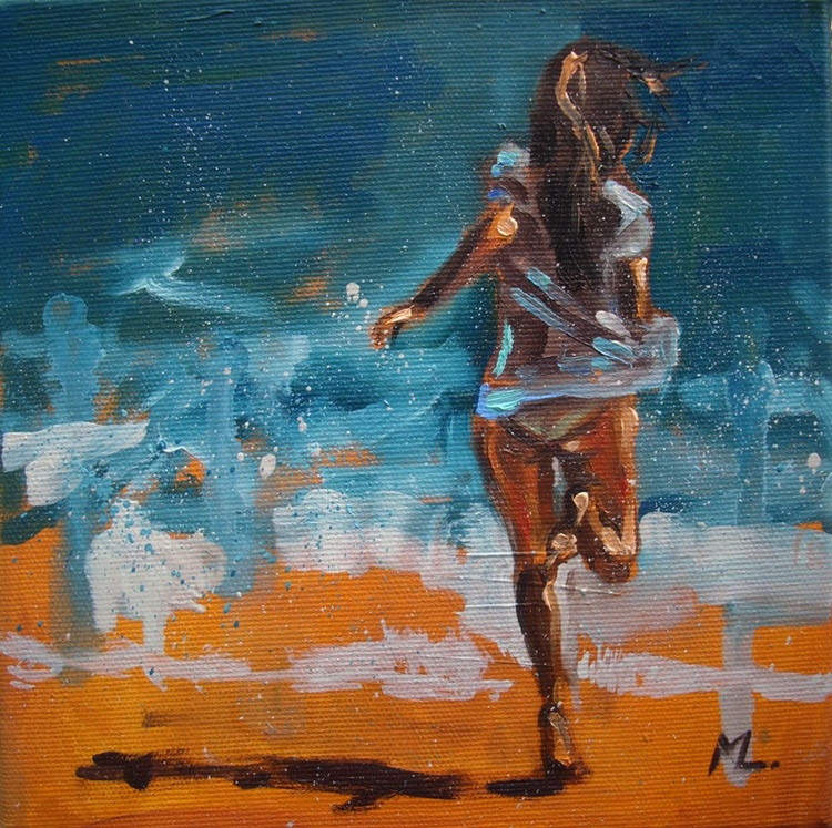 """"""" FIRST DAY :) """" - original oil painting on canvas SEA - Image 0"""