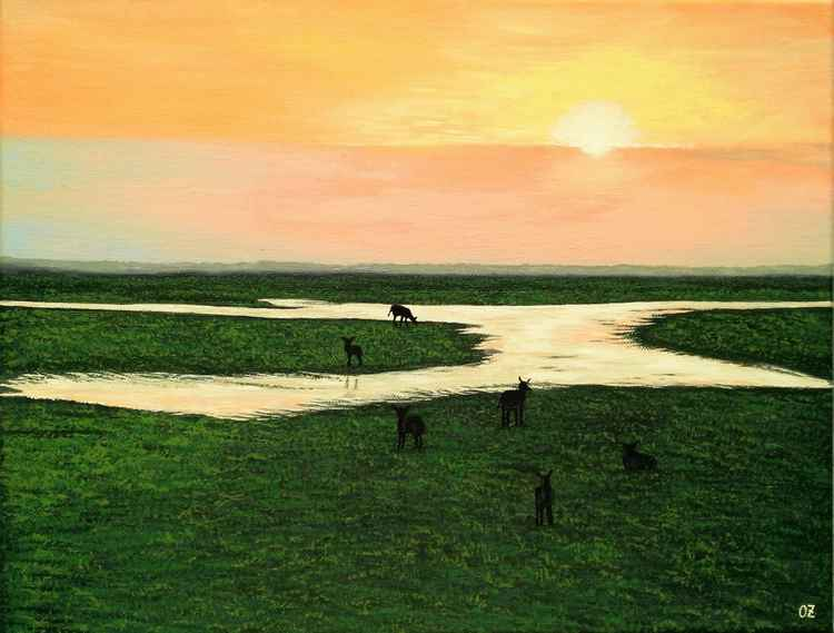 Landscape with Grazing Antelopes