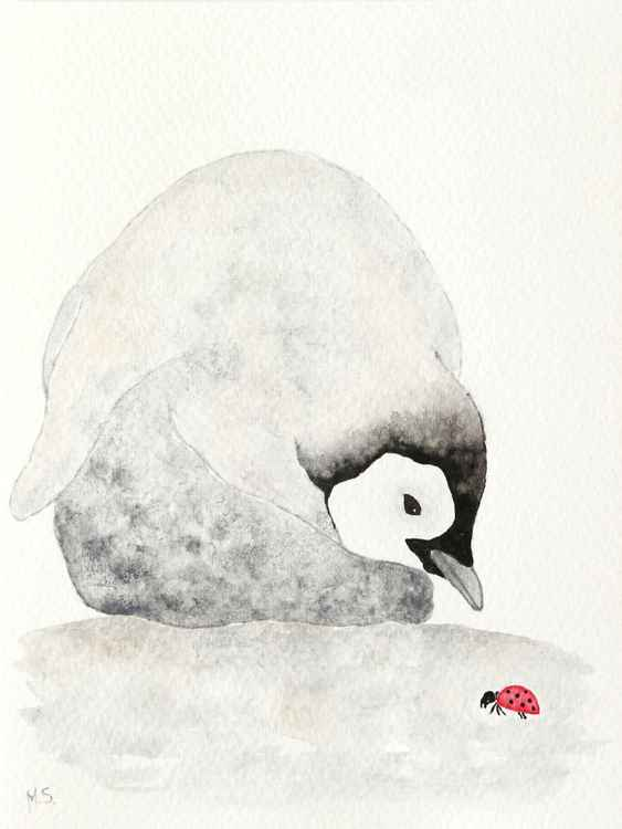The emperor penguin chick with ladybird