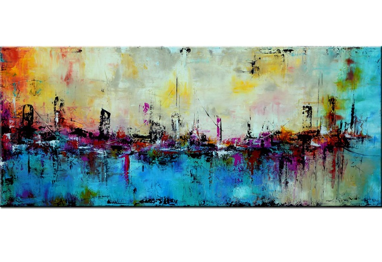 """""""City by the bay"""" -Original Large Abstract Painting Skyline in Aqua green blue Orange beige Modern Abstract Painting canvas wall art, contemporary 72x30 art - Image 0"""