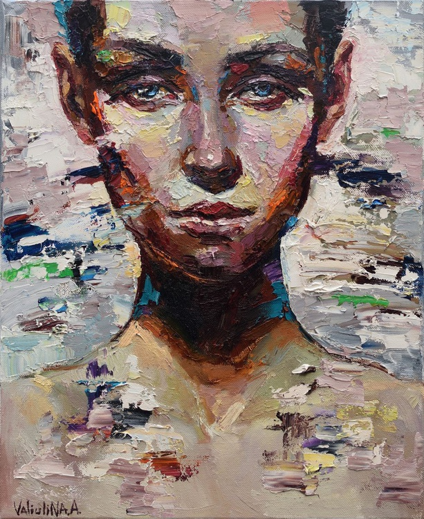 Abstract girl portrait painting #6, Original oil painting - Image 0