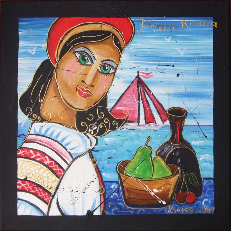 Portrait of the girl Romena painting nautical decor original art 35x35x4 cm stretched canvas acrylic wall art by artist Ksavera - Image 0