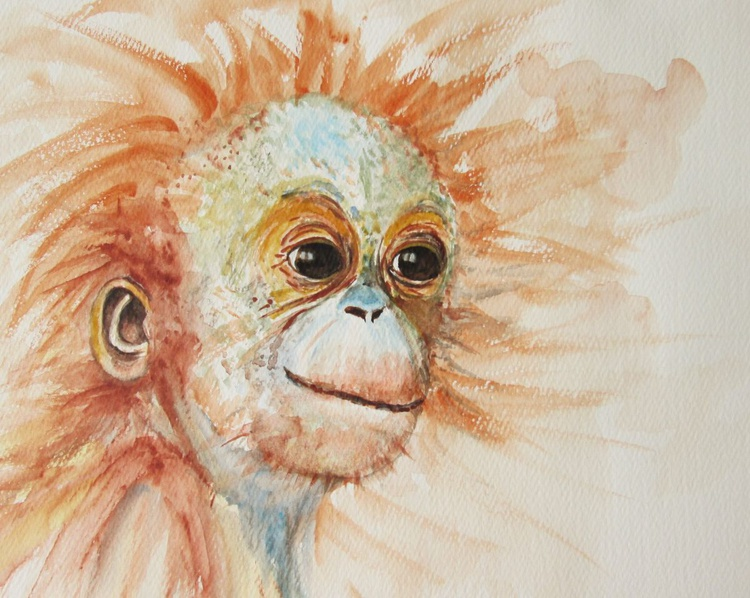 """ORANGUTAN BABY"", Monkey Primate Orangutan Pet Portrait original watercolour painting - Image 0"