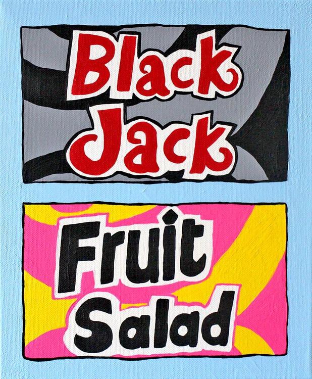 Fruit Salad and Black Jack Retro Sweets Pop Art - Image 0