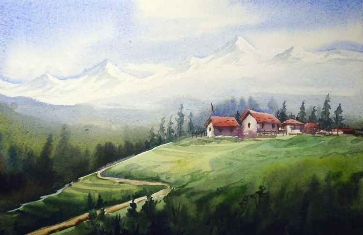 Himalayan Peaks & Landscape - Watercolor on Paper painting -