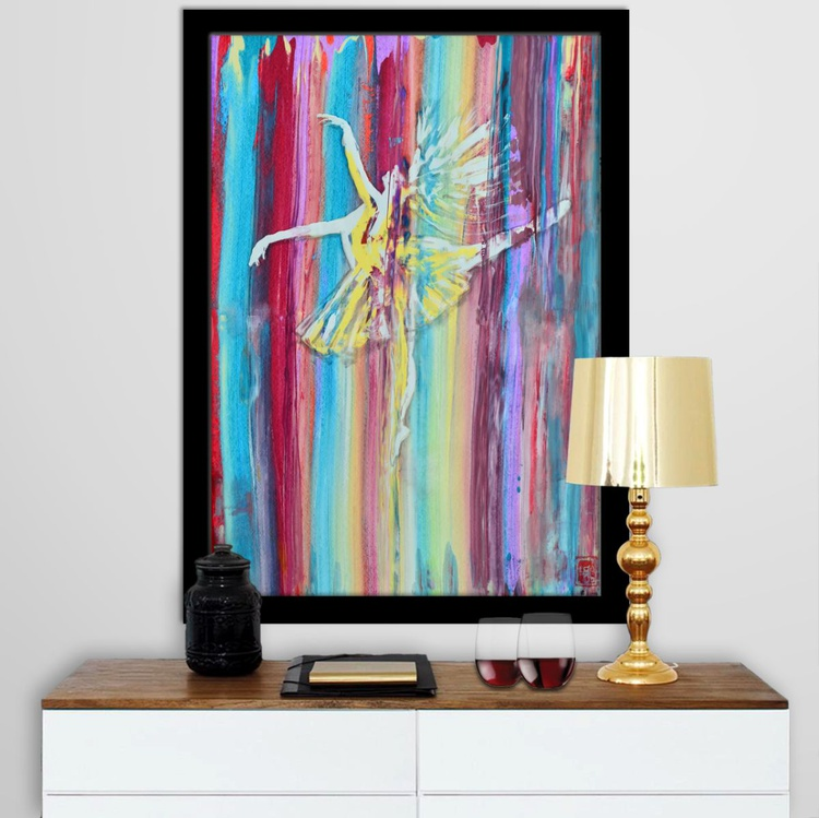 Colors Of Dance - Abstract Art Painting On A1 Big Size Paper - Image 0