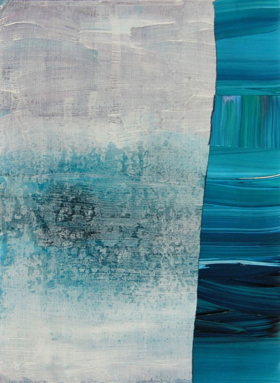 Blue, Abstract Seascape Collage Painting - Image 0
