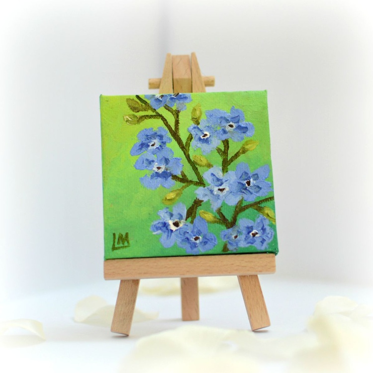 Forget-me-nots miniature painting with display easel - Image 0