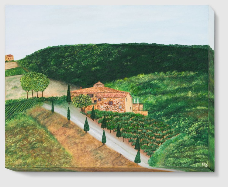 "Landscape in Tuscany - 12"" x 16"" (30 x 40 cm), Oil on Canvas - Image 0"