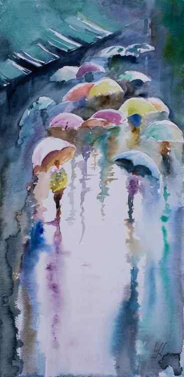 """""""Umbrellas"""", original watercolour painting, 9.2""""x 18.4""""(23x46cm) -"""