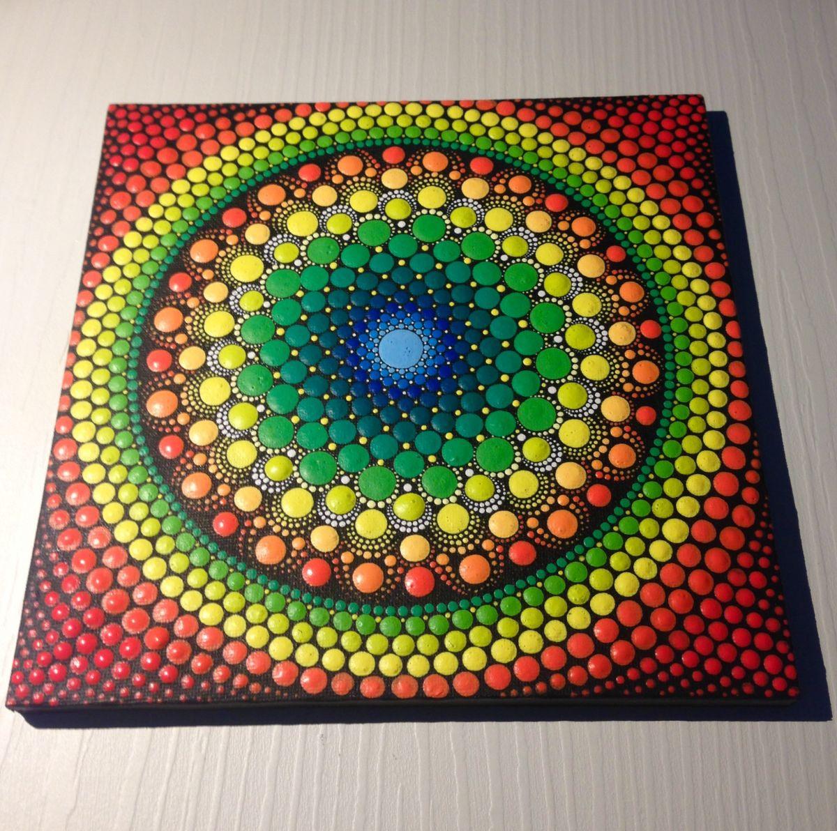 vibrant green mandala dotart mandala painting on canvas