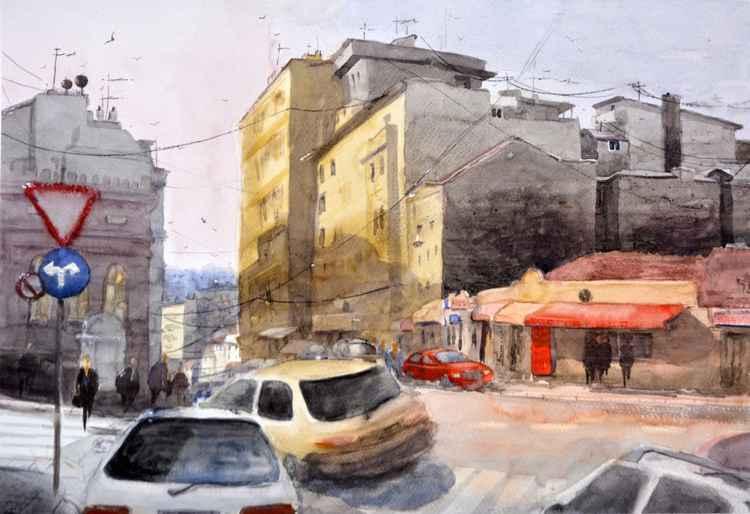 Balkanska, Belgrade, Serbia - original watercolor painting -