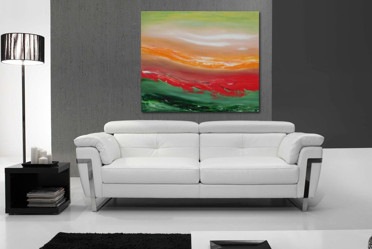 Red cut - 70x60 cm, Original abstract painting, oil on canvas - Image 0