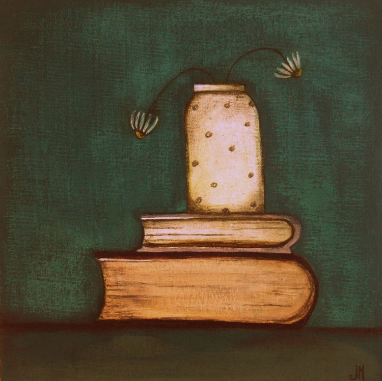 Daisies and Books on Studio Table.., - Image 0