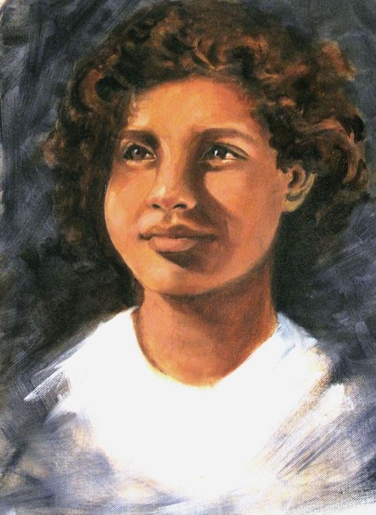 "Hope- Original art Oil on canvas 14""x 18"" - Image 0"