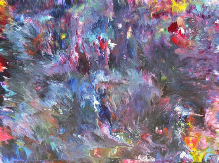Northern Lights,  Abstract Fluid Painting, Large 48 x 36 inch Canvas - Image 0