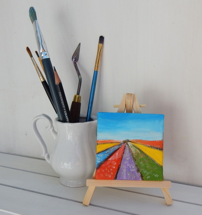 Tulip fields in Holland. Landscape Miniature. Easel is included. Gift painting. Ready to hang. - Image 0