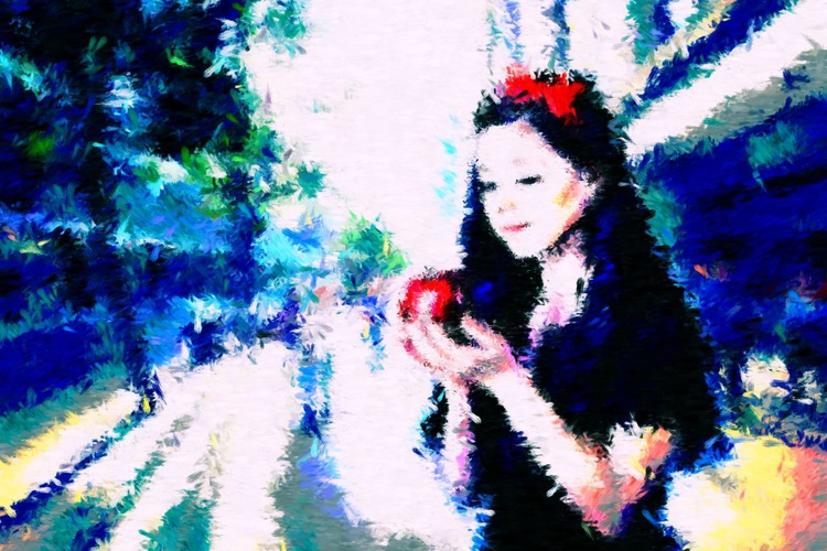 """Snow White - Large - Monoprint on Forex Board - 23.62 x 15.75"""" - FREE SHIPPING - Image 0"""