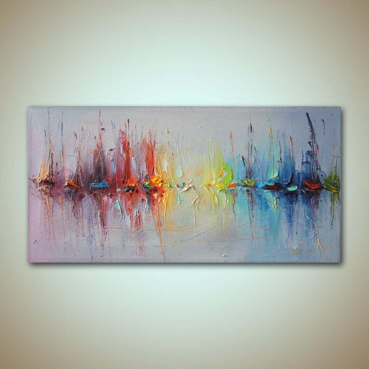 Sea charts 6, Sailboats Abstract Sailboats Oil Painting Modern Seascape, Free shipping - Image 0