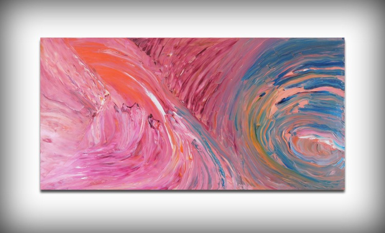 Eclipse of the moon - 120x60 cm, Original abstract painting, oil on canvas - Image 0