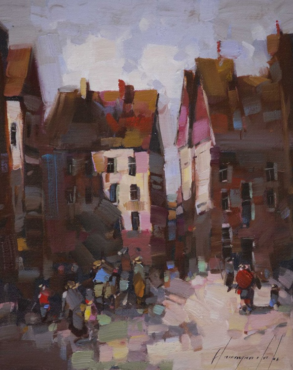Cityscape Handmade oil painting on Canvas with Certificate of Authenticity - Image 0