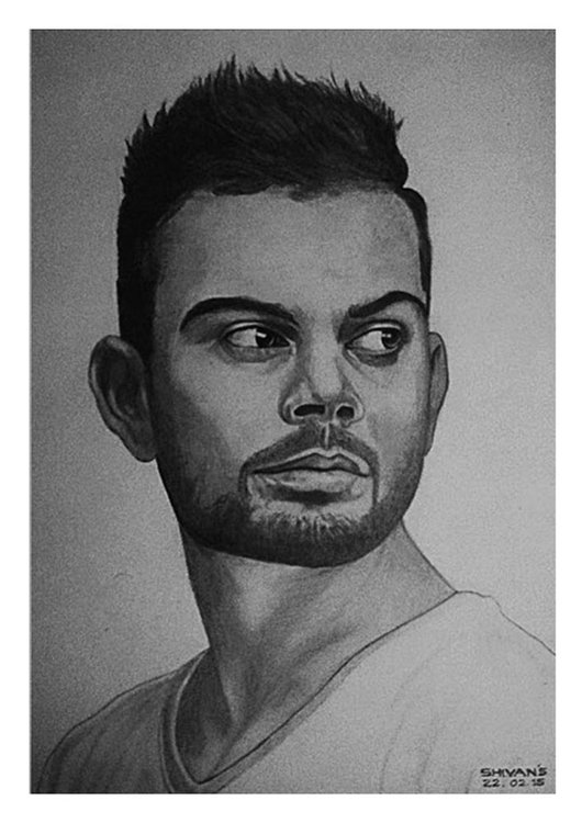 Pencil portrait of indian cricketer virat kohli 1