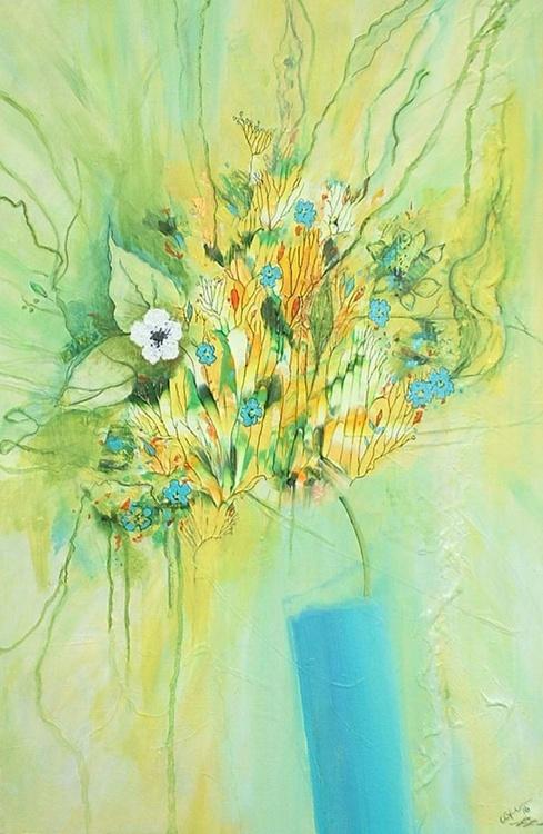 Flower Arrangement in a Teal Vase - Image 0