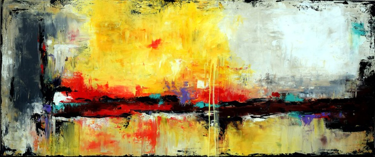 """""""WHERE NORTH MEETS SOUTH"""" - 72"""" Original Painting 72 Abstract painting, Yellow modern art Large contemporary painting, Canvas wall art, Original Landscape art - Image 0"""