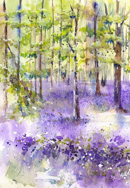 Bluebell wood - Spring Landscape Painting, Spring Floral Landscape, Original Landscape Painting, Original Watercolour Painting, Bluebell Landscape