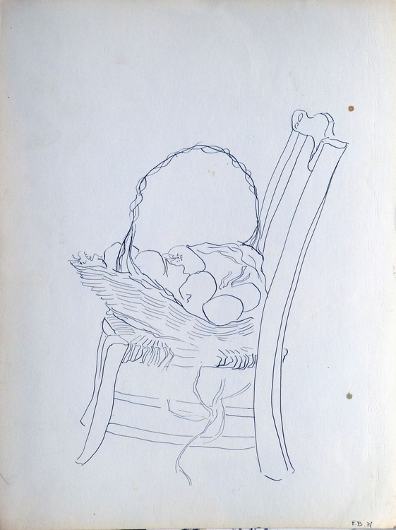 Still Life: Chair and Basket of Vegetables, 24x32 cm - Image 0