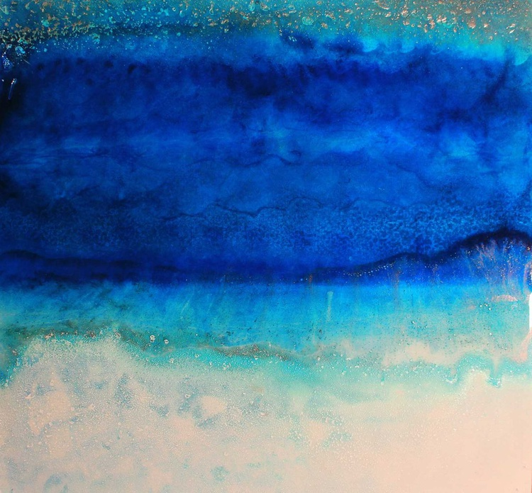 Long Beach  - Abstract Resin Seascape - Stunning Blues & Turquoise - Image 0