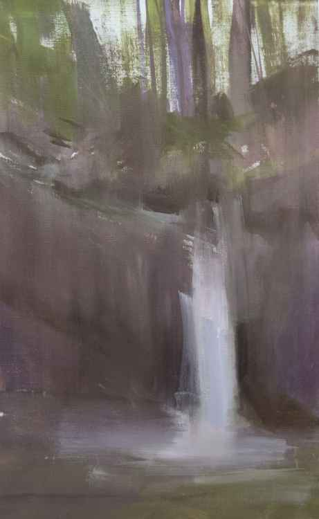 "Autumn Painting ""Twilight on Waterfall"" -"
