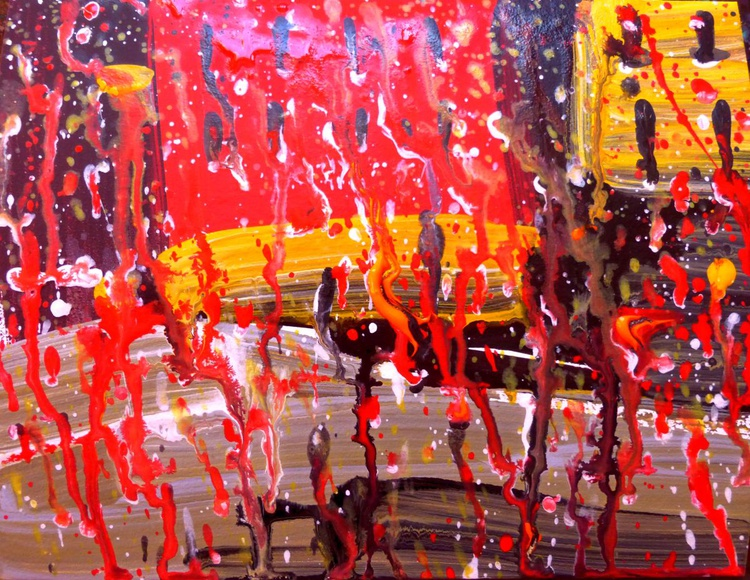 rain pours and pours... original painting. 25x20 cm - Image 0
