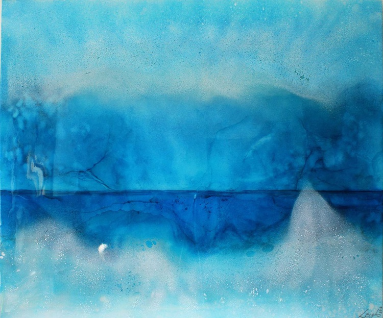 BIG BAY II - Abstract Resin Seascape - Stunning Blues & Turquoise HUGE 120x100cm - Image 0