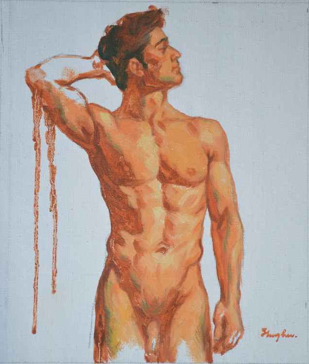 original oil; painting art male nude gay men on canvas 16-1-25-03