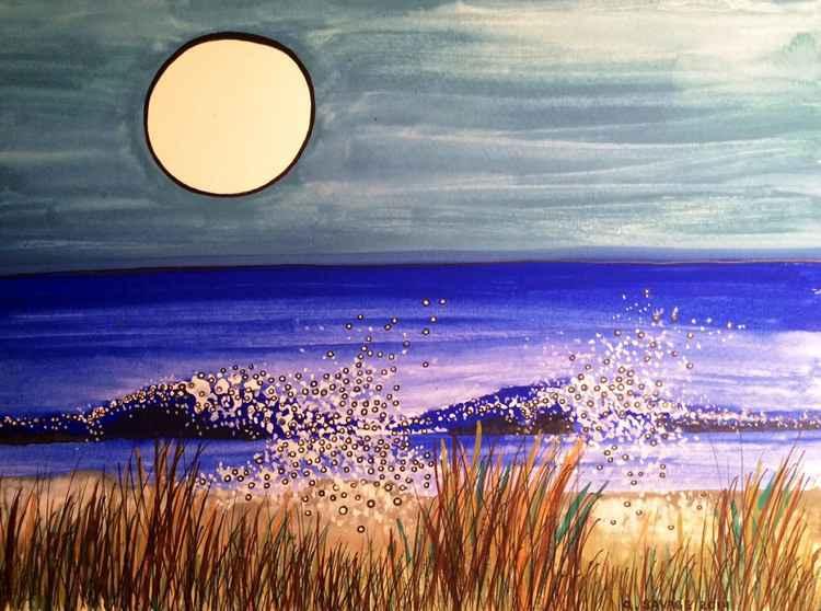 Full Moon over Weekapaug Inlet, Rhode Island