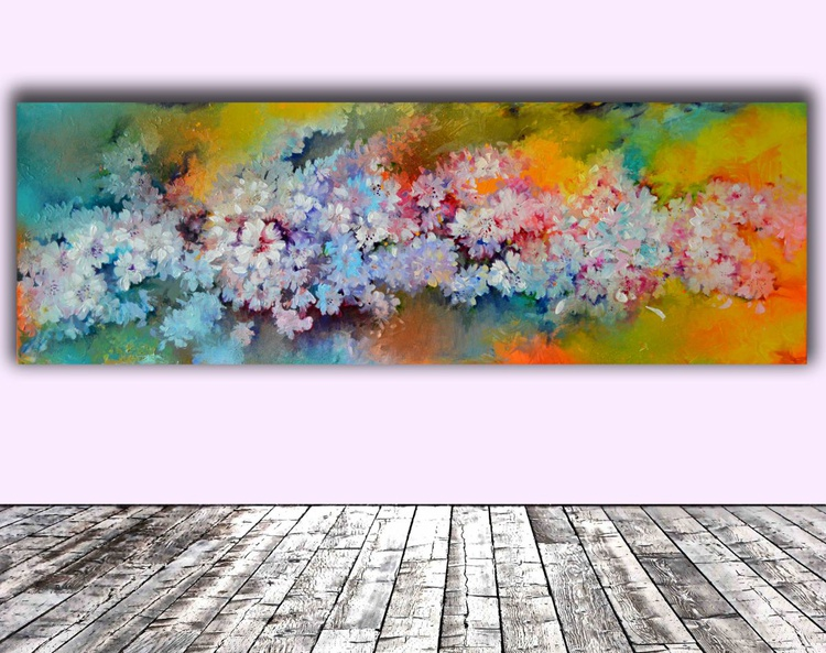 Sakura - Cherry Tree Blossom - 120x40 cm, FREE SHIPPING, Large Modern Ready to Hang Floral Painting - Flower Acrylics Painting - Image 0