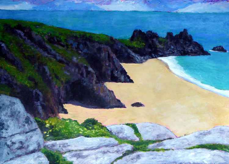 View to The Logan Rock, Porthcurno. -