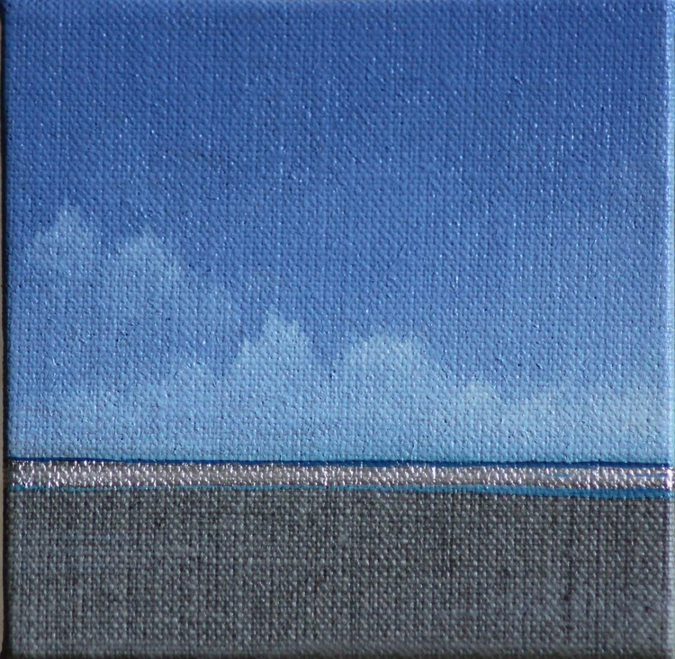 Blue seascape with silver leaf - Image 0