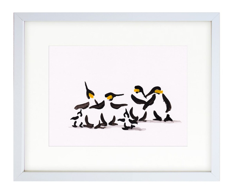 Four penguins and two chicks (21x15 cm) - Image 0
