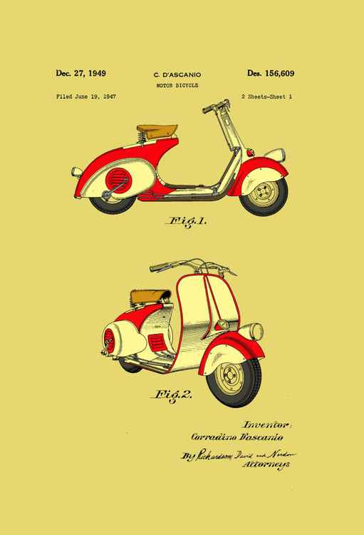 Motor Bicycle Patent - Circa 1949 - Red and Cream