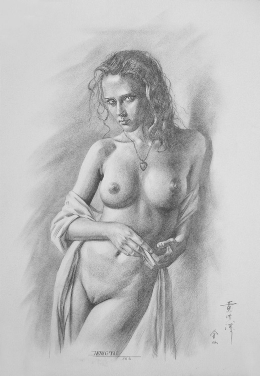 original art drawing charcoal female nude girl on paper #16-5-19-02 - Image 0