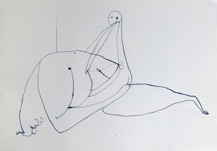 Surrealist Lovers 3, ink on paper 42x30 cm - Image 0