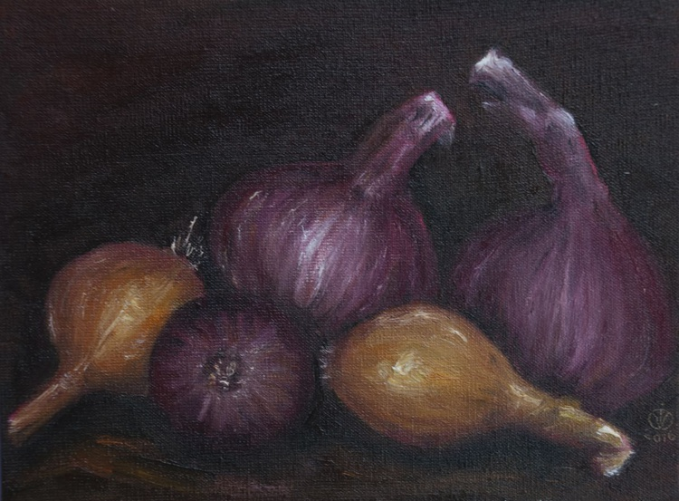 Onions (15x20cm) original oil painting still life realistic vintage style miniature small gift kitchen decor - Image 0