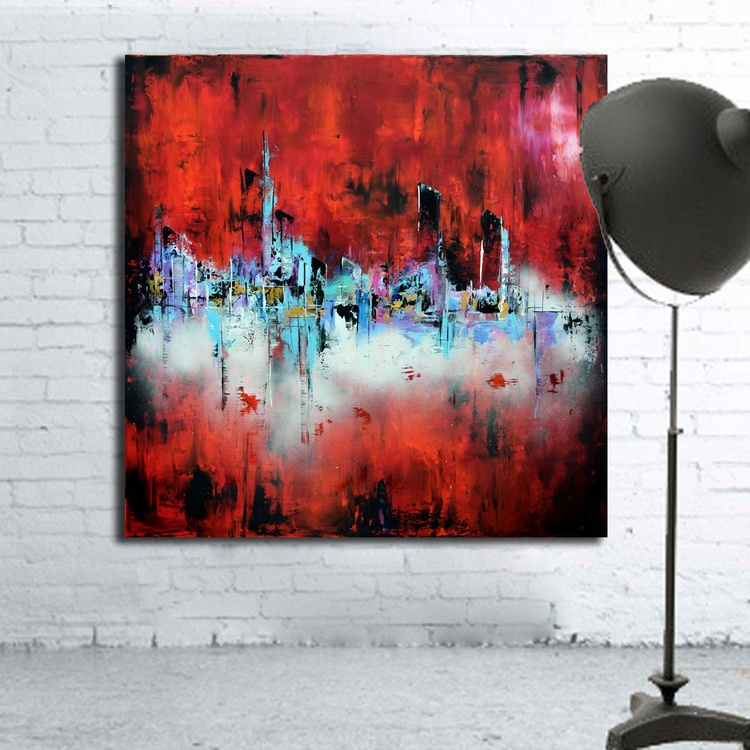 "Above the Clouds - 48""x48"" Large original Palette Knife  abstract painting in red with light blue and pink accents - Image 0"