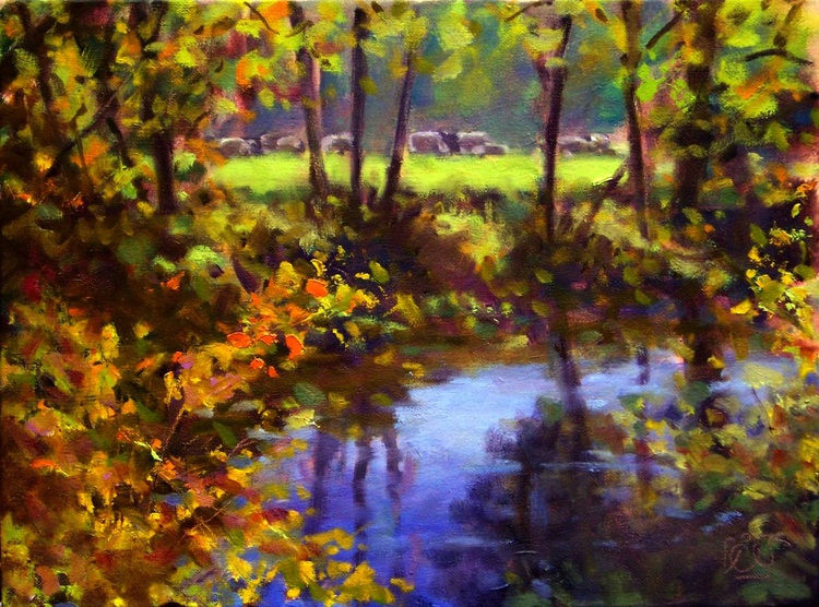 autum river with cows - Image 0
